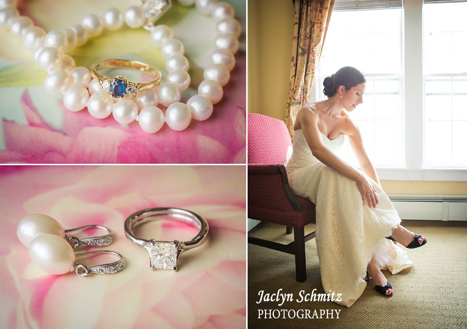 pearls and pink wedding jewelry