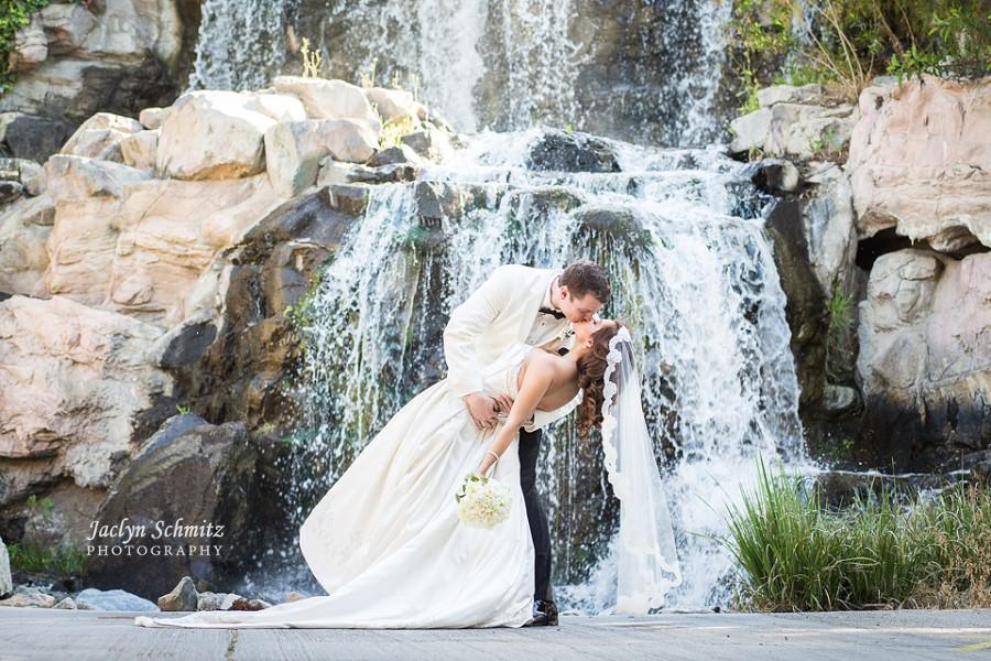 romantic kiss dip shot waterfall