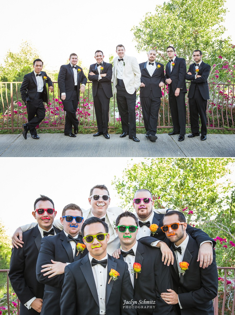 moustache sunglasses wedding party