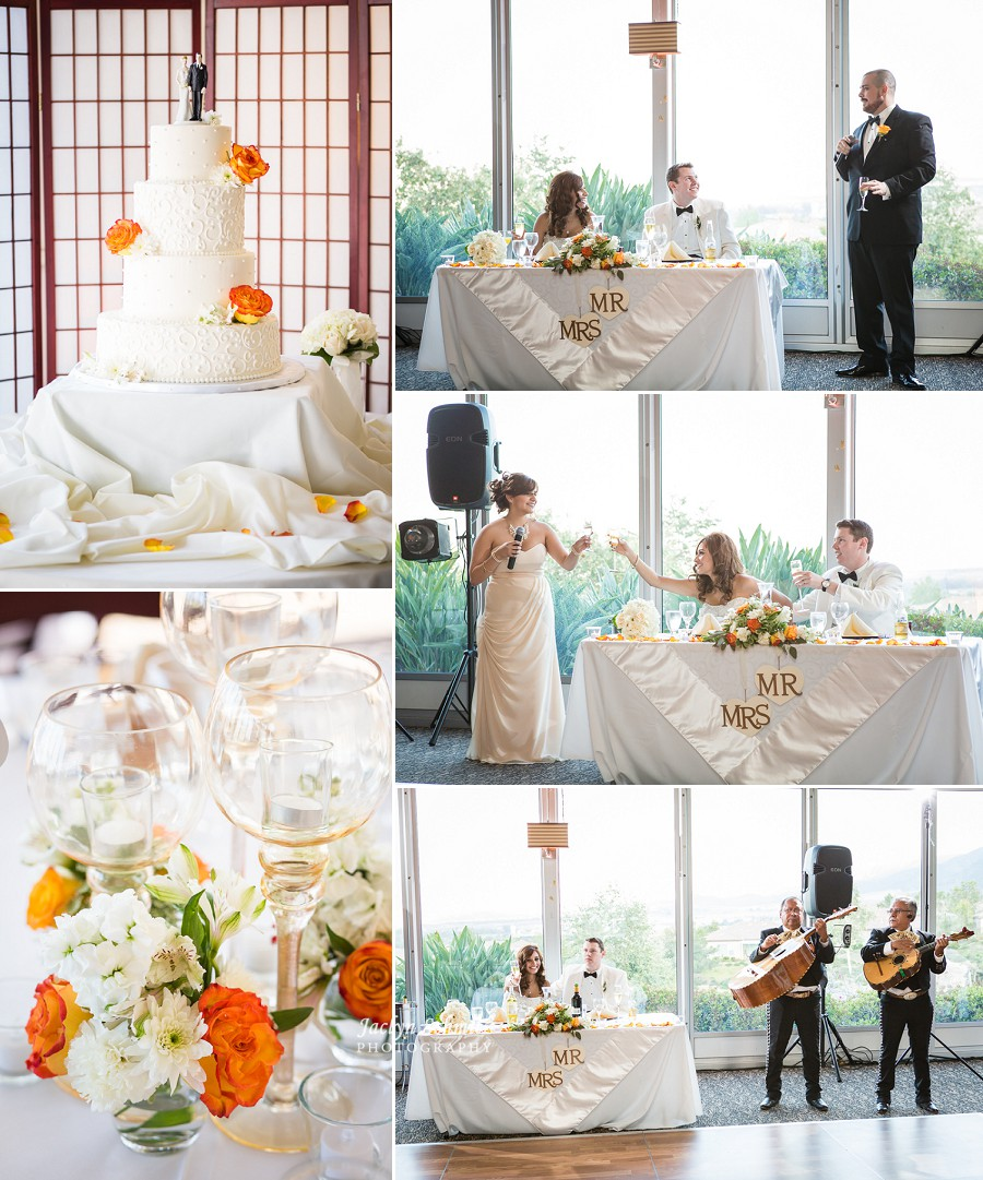 toasts white and orange wedding decor