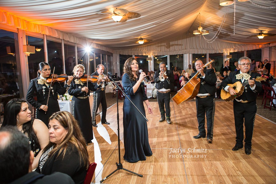 mother of bride performing singing at wedding