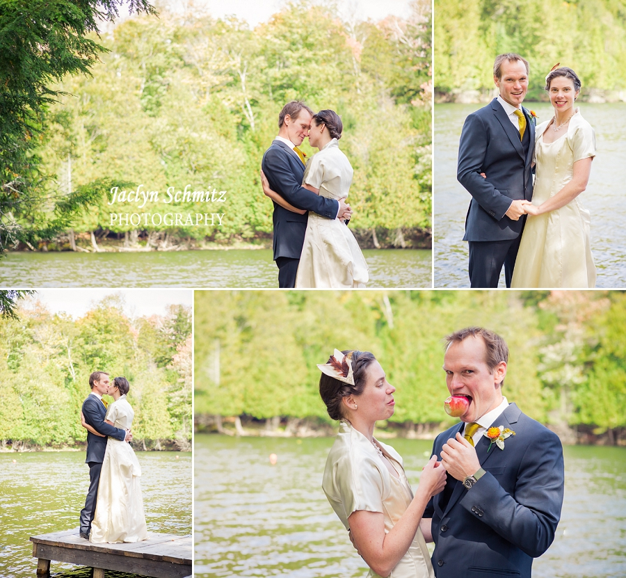 wedding first look on the dock by the lake