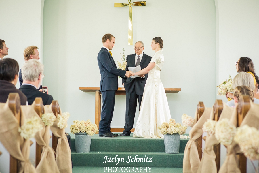 burlap and white flowers church wedding vt