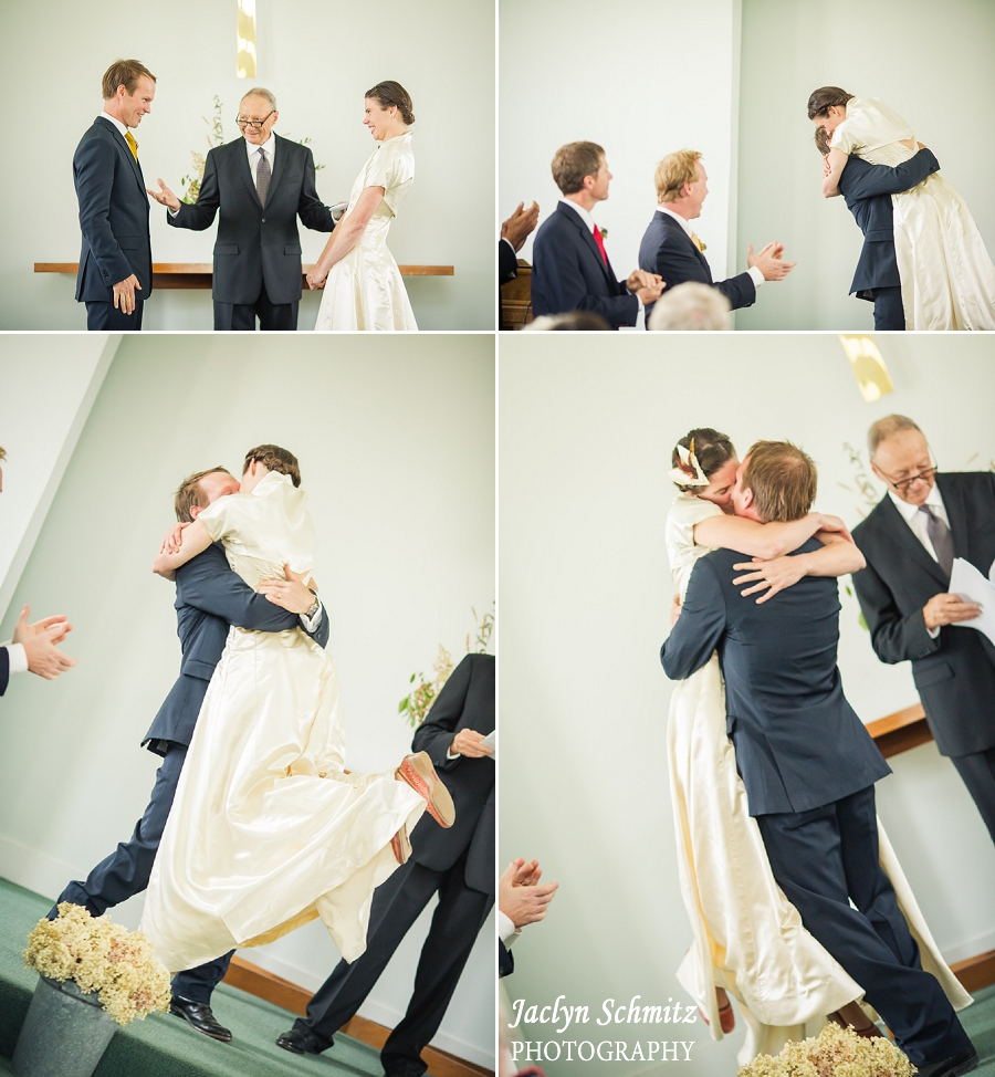 bride excitedly kissing groom fun first kiss