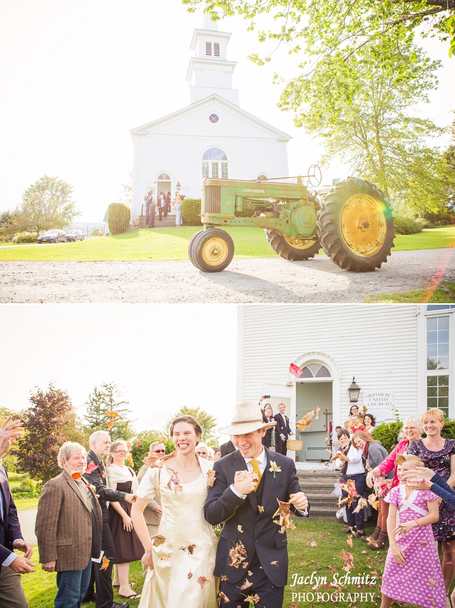 wedding exit on a tractor vermont wedding photography
