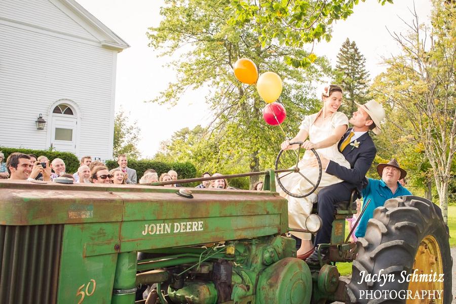 tractor wedding church exit vt