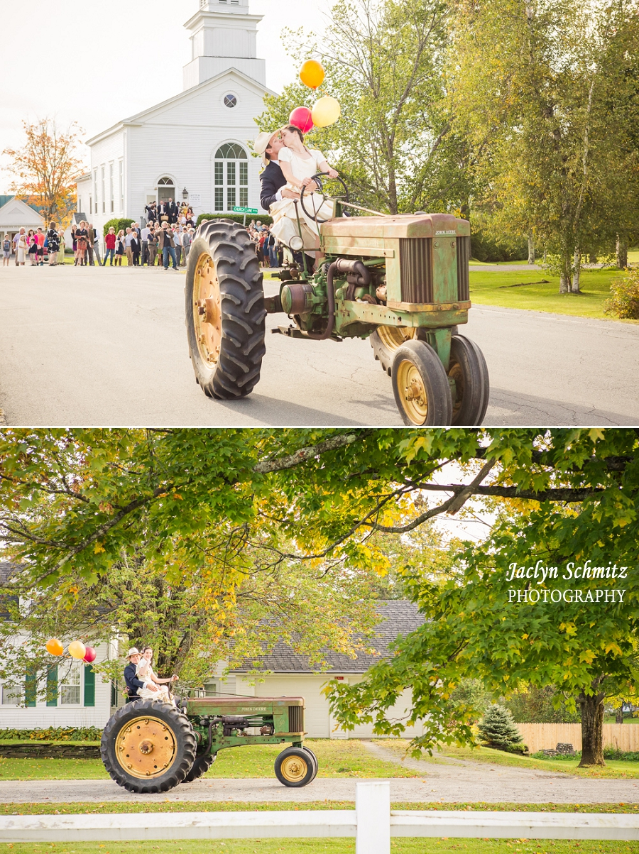 riding a tractor wedding vt