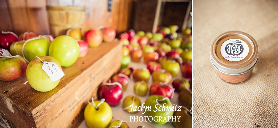 fall apple place cards wedding
