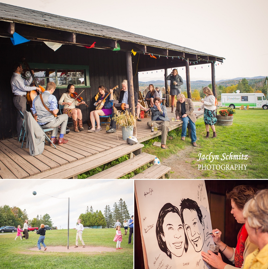 guests play instruments on barn porch wedding