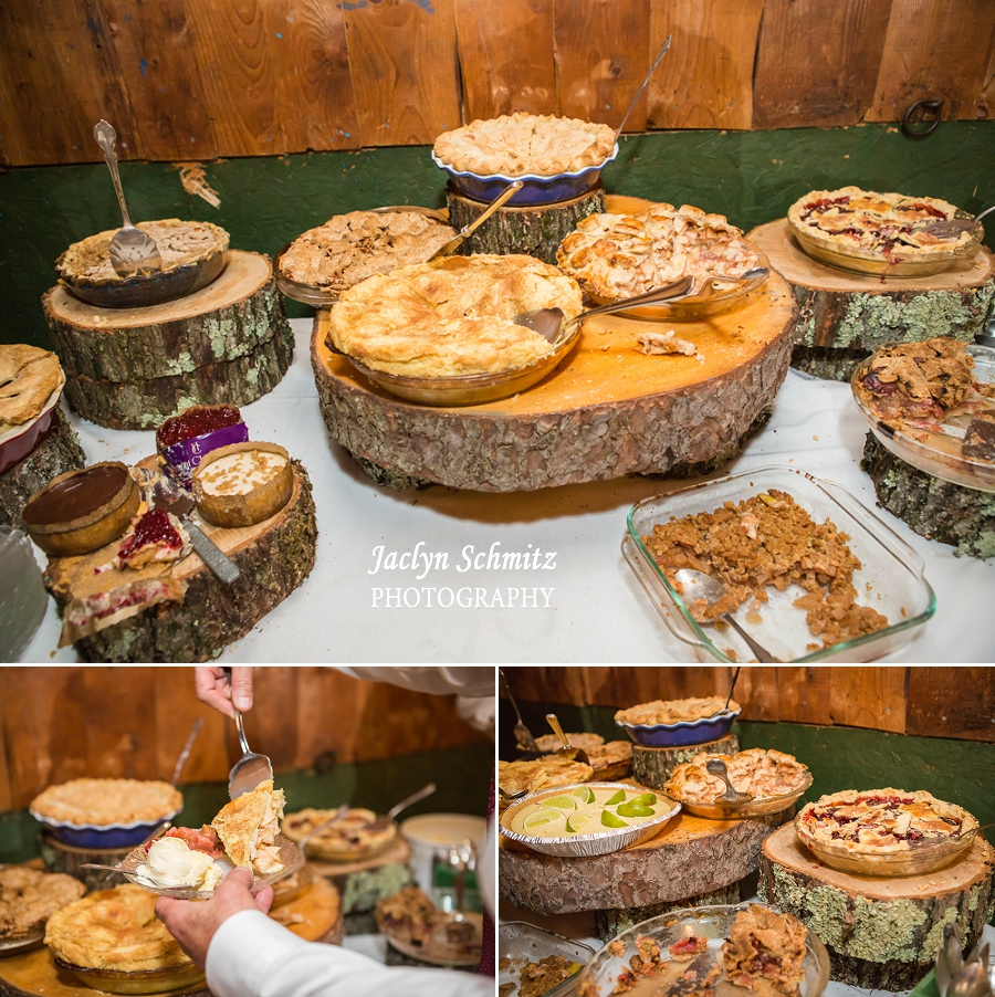 wedding pies on logs dessert