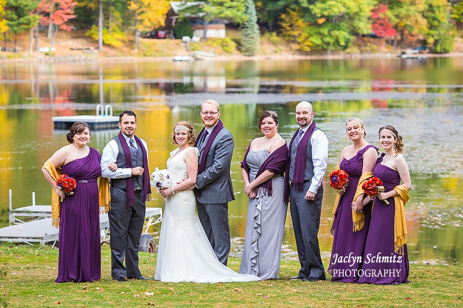 purple and gold lake wedding portrait