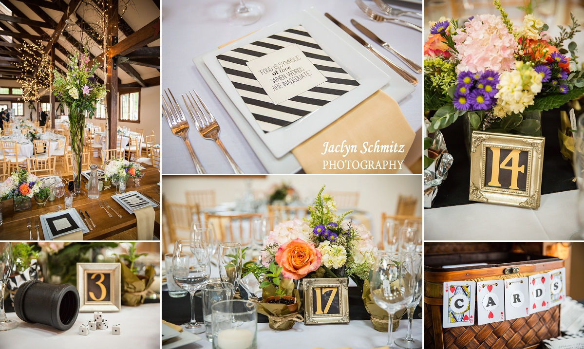poker rustic themed wedding reception