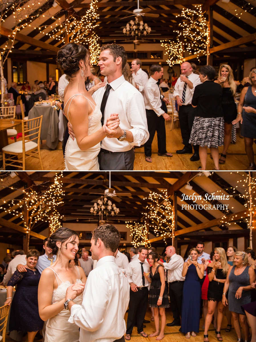 wedding first dance barn christmas twinkle lights vt
