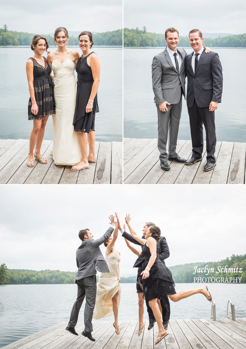 vermont wedding party photo on lake dock
