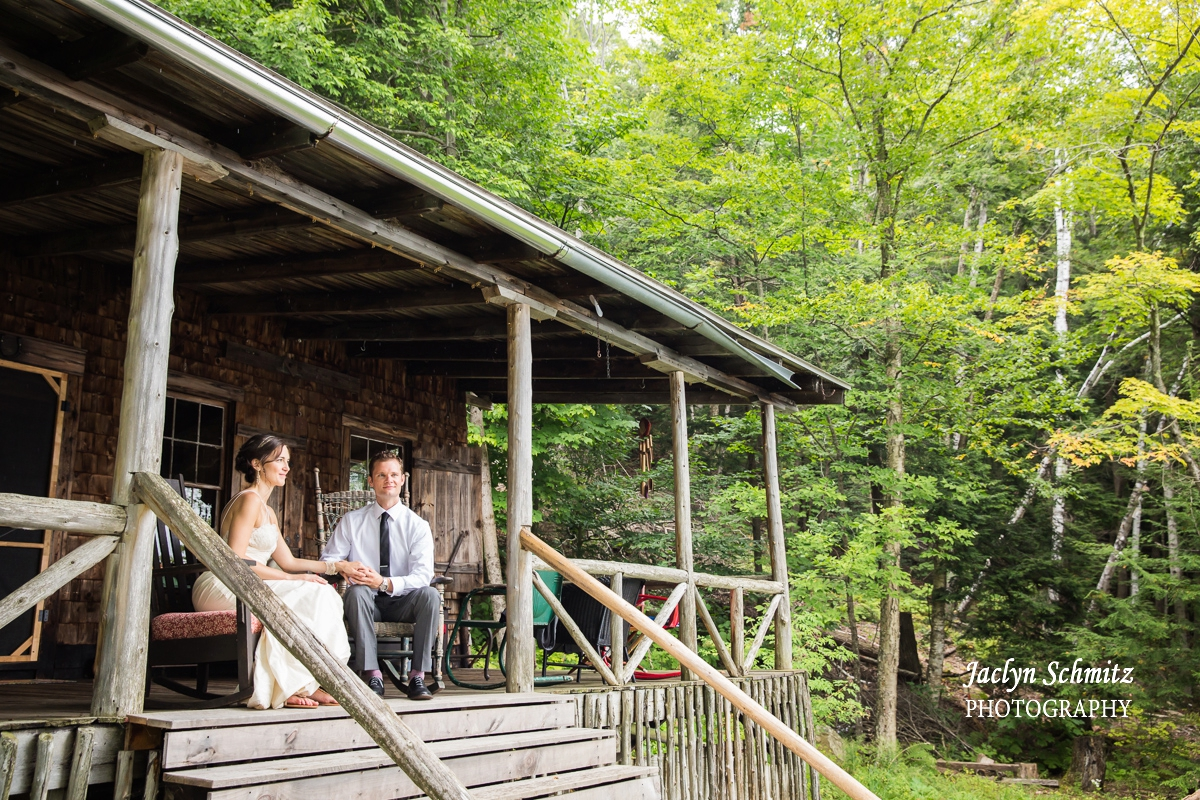 cabin wedding adirondack chairs portrait