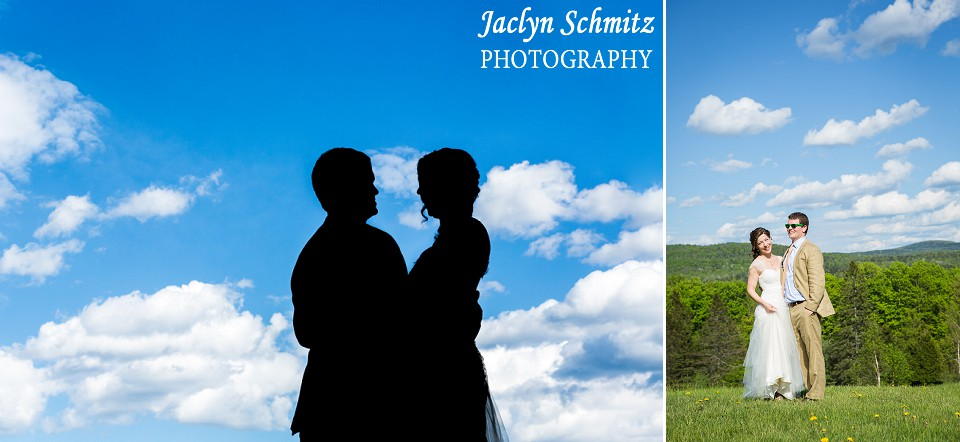 sunny blue sky and clouds vermont wedding