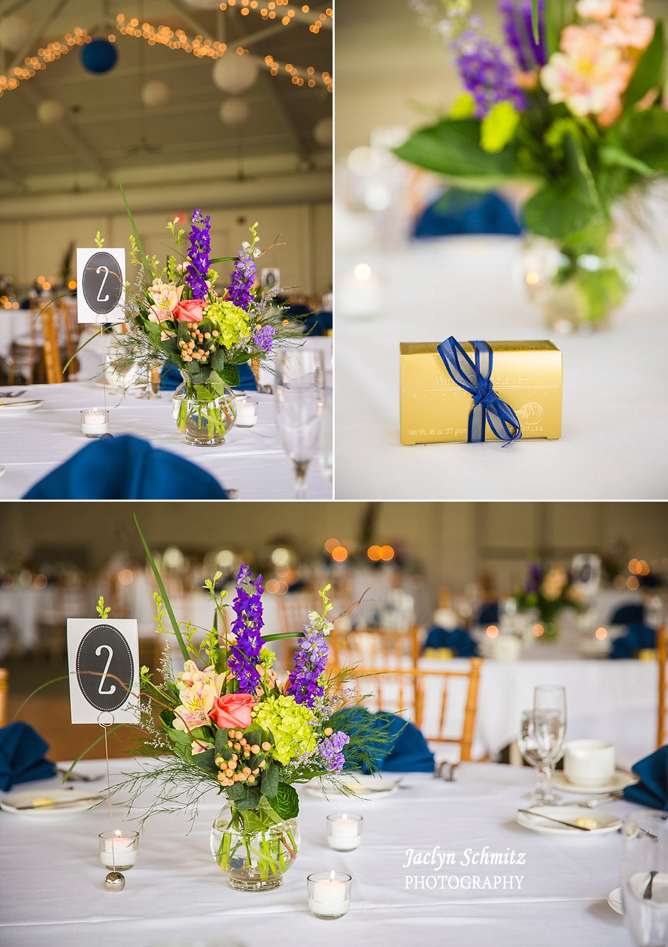 purple and peach flower wedding centerpiece with blue accents hotel wedding vt
