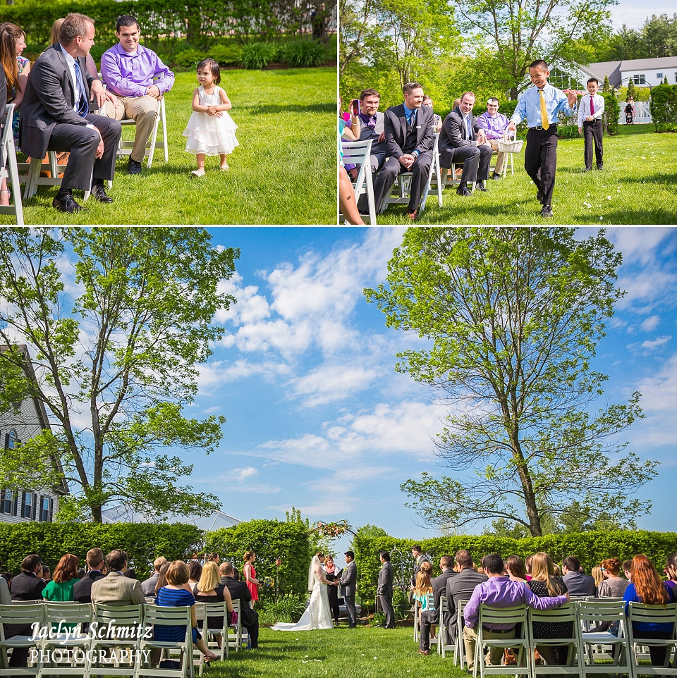 arge trees flank wedding ceremony