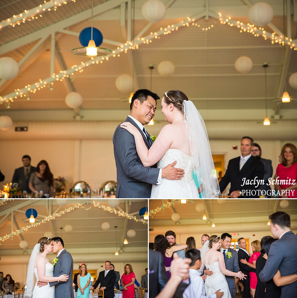 blue and white lanterns hang from high ceilings during first dance