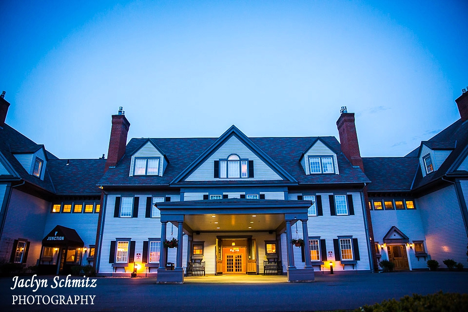 twilight photo of essex resort and spa vermont
